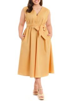 Maggy London Sleeveless Poplin Midi Dress (Plus Size)