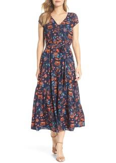 Maggy London Smock Shoulder Floral Crepe Midi Dress (Regular & Petite)