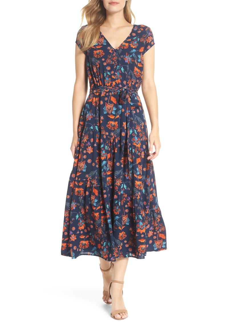 e69bc70c Maggy London Smock Shoulder Floral Crepe Midi Dress (Regular & Petite)