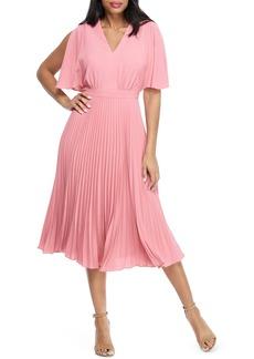 Maggy London Split Sleeve Pleated Midi Dress
