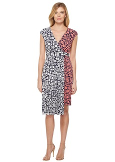 Maggy London Spot Dot Jersey Fit and Flare Dress with Pleated Skirt