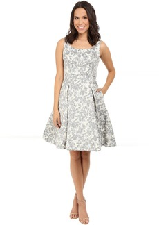 Spring Floral Brocade Fit and Flare Dress