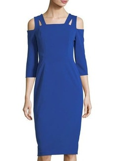 Maggy London Square-Neck Cold-Shoulder Sheath Dress