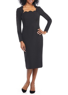 Maggy London Square Neck Dream Crepe Midi Dress