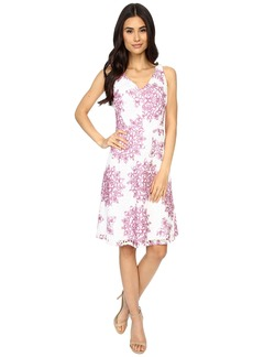 Maggy London Star Medallion Printed Lace Fit and Flare Dress