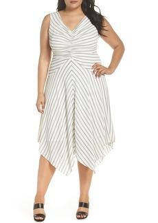 Maggy London Stripe Ruched Handkerchief Hem Dress (Plus Size)