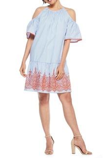 Maggy London Striped Cold-Shoulder Shift Dress
