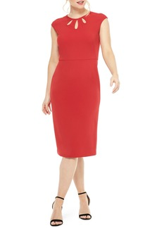 Maggy London Teardrop Jewel Neck Scuba Crepe Dress