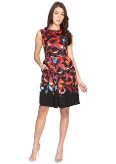 Maggy London Techno Blossom Scuba Fit and Flare Dress