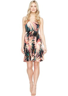 Maggy London Techno Palm Jersey Pleated Fit & Flare Dress
