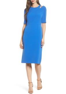 Maggy London Textured Split Shoulder Sheath Dress