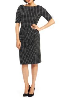 Maggy London Textured Windowpane Check Sheath Dress