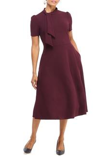 Maggy London Tie Neck A-Line Midi Dress