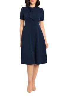 Maggy London Tie Neck Midi Dress