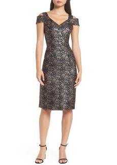 Maggy London Twilight Rose Metallic Brocade Cold Shoulder Dress (Regular & Petite)