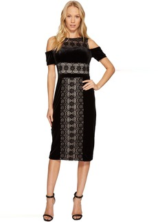 Maggy London Velvet and Lace Cold Shoulder Sheath
