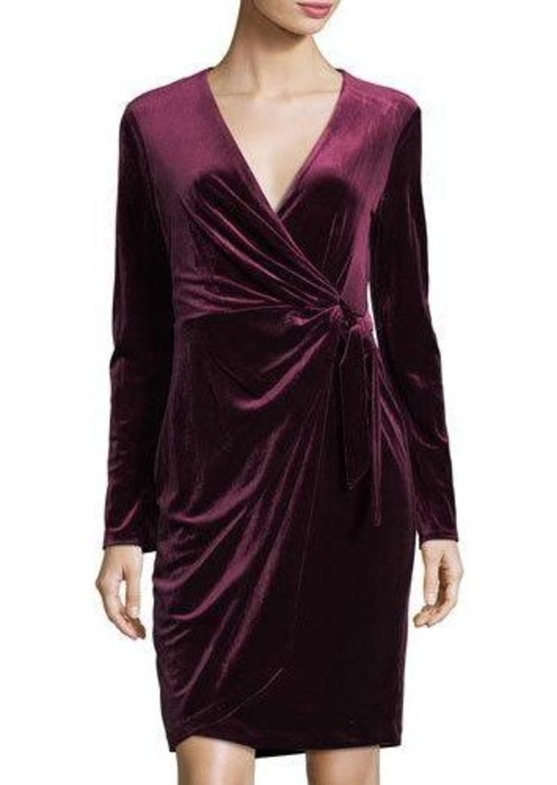 430ec7a1f1d Maggy London Maggy London Velvet Faux-Wrap Long-Sleeve Dress