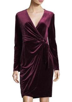 Maggy London Velvet Faux-Wrap Long-Sleeve Dress