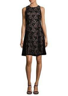 Maggy London Velvet Lace Fit-&-Flare Dress