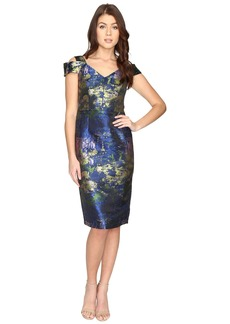 Maggy London Water Lily Brocade Jacquared Off The Shoulder Sheath Dress