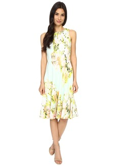 Maggy London Water Wash Garden Printed Scuba Fit and Flare Dress