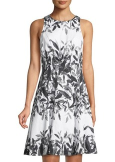 Maggy London Whisper Leaf Fit-&-Flare Dress