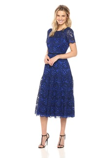 Maggy London Women's 2-Tone Paisley Swirl Lace Fit and Flare