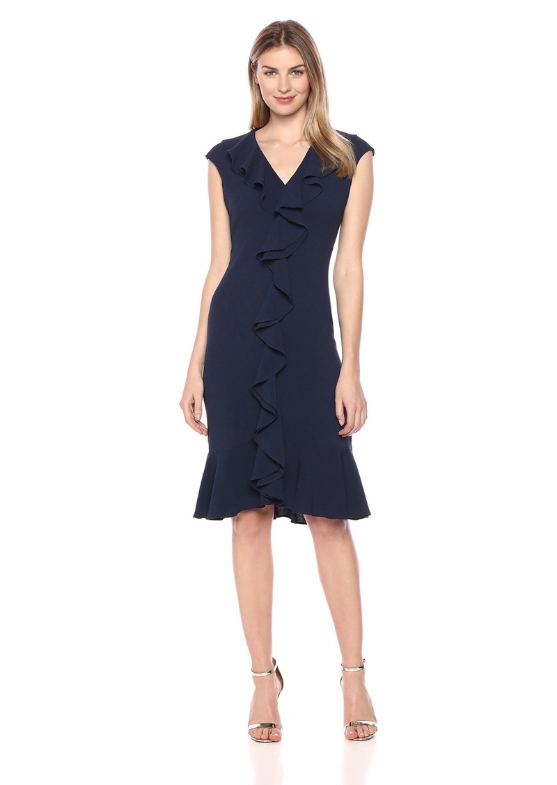 Maggy London Women's 30's Crepe Flounce Dress