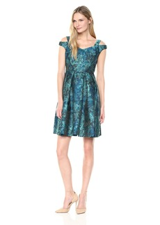 Maggy London Women's Abstract Leaf Jacquard Fit and Flare