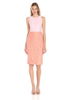 Maggy London Women's Applique Lace Color-Block Sheath Dress