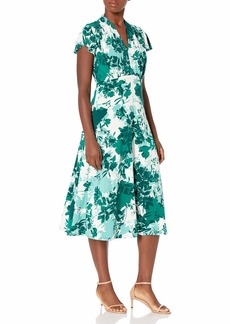 Maggy London Women's Autumn Shadow Floral Printed Jersey Fit and Flare