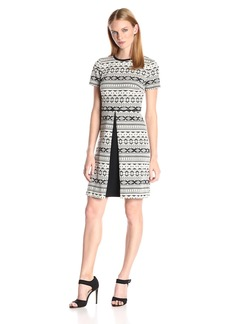 Maggy London Women's Aztec Stripe Novelty Fit and Flare