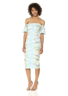 Maggy London Women's Blossom Branch Cotton Sheath Dress