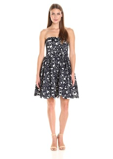 Maggy London Women's Bonded Mesh Flower Fit and Flare
