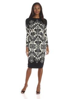 Maggy London Women's Border Print Matte Jersey Long Sleeve Sheath Dress Black/Ivory