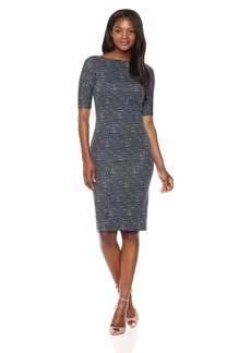 Maggy London Women's Brushed Abstract Jacquard Novelty Sheath with Elbow Sleeve