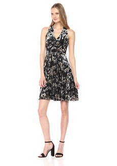 Maggy London Women's Burnout Velvet Fit and Flare