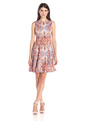 Maggy London Women's Carpet Medallion Fit and Flare