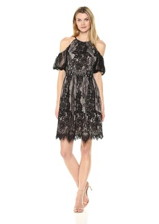 Maggy London Women's Chantilly Lace Cold Shoulder Fit and Flare