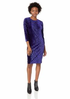 Maggy London Women's Chevron Pleat Velvet Long Sleeve Sheath