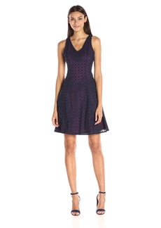 Maggy London Women's Circle in the Square Eyelet Fit-and-Flare Dress