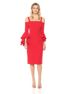 Maggy London Women's Cold Shoulder Sheath with Cascade Sleeve