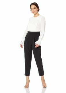Maggy London Women's Color Block Crepe Long Sleeve Jumpsuit