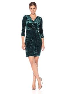 Maggy London Women's Crushed Velvet Side Pleat Dress