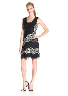 Maggy London Women's Diamond Stripe Lace Fit and Flare