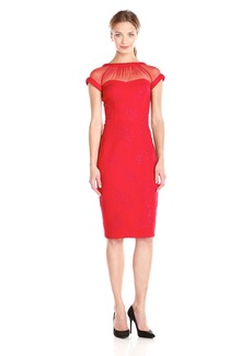 Maggy London Women's Embossed Rose Crepe Illusion Sheath Dress
