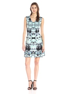 Maggy London Women's Feathered Floral Scuba Fit and Flare Dress