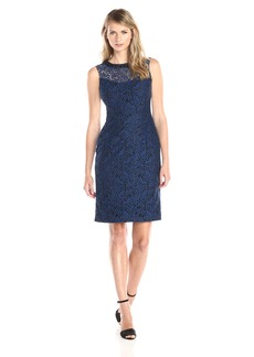 Maggy London Women's Fern Scroll Lace Sheath Dress with Embellished Neck