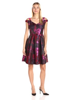 Maggy London Women's Floral Brocade Novelty Fit and Flare