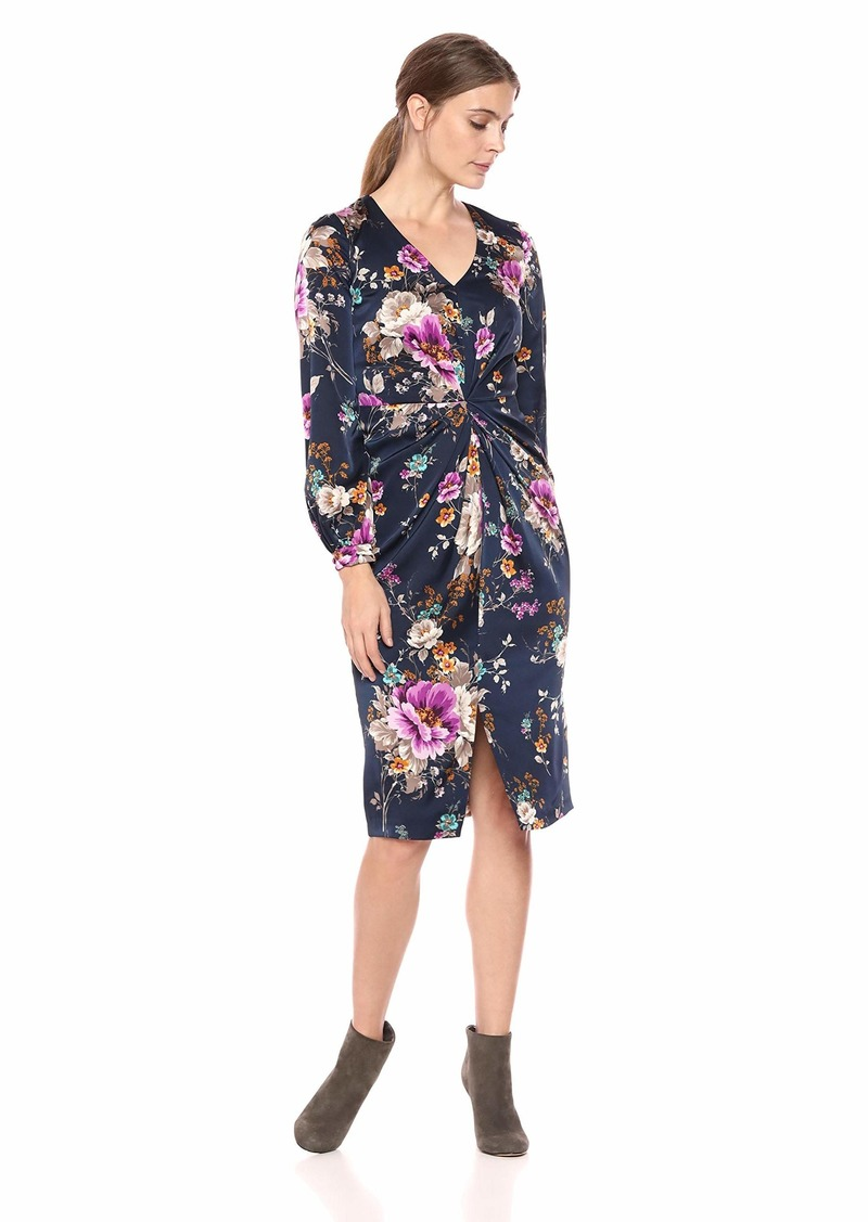 Maggy London Women's Floral Charmeuse Draped Dress